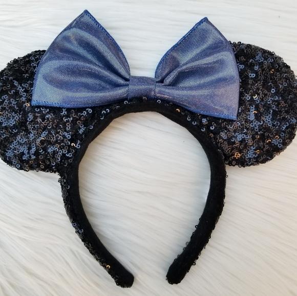 Disney Accessories - Disney Parks Metallic Blue Bow Minnie Mouse Ears 8204d4630c0c